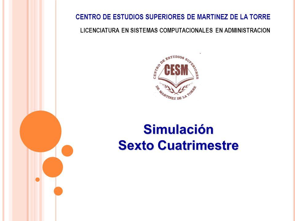 LICENCIATURA EN SISTEMAS COMPUTACIONALES EN ADMINISTRACION Simulación Sexto Cuatrimestre CENTRO DE ESTUDIOS SUPERIORES DE MARTINEZ DE LA TORRE