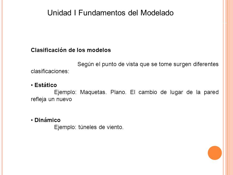 Clasificación de los modelos Según el punto de vista que se tome surgen diferentes clasificaciones: Estático Ejemplo: Maquetas. Plano. El cambio de lu