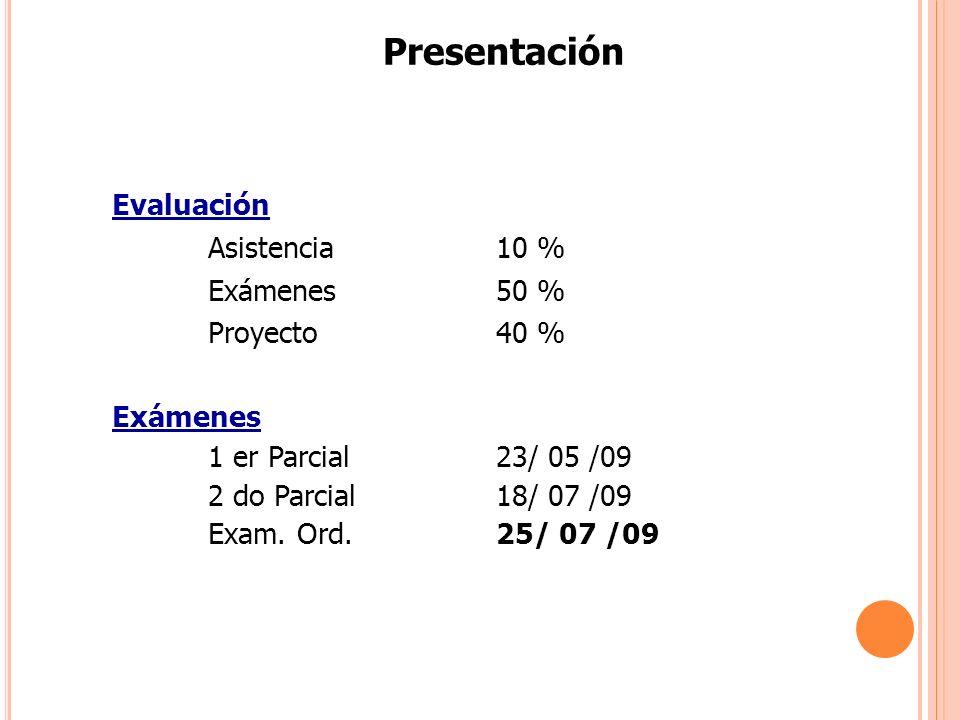 Presentación Evaluación Asistencia 10 % Exámenes50 % Proyecto40 % Exámenes 1 er Parcial 23/ 05 /09 2 do Parcial 18/ 07 /09 Exam. Ord.25/ 07 /09