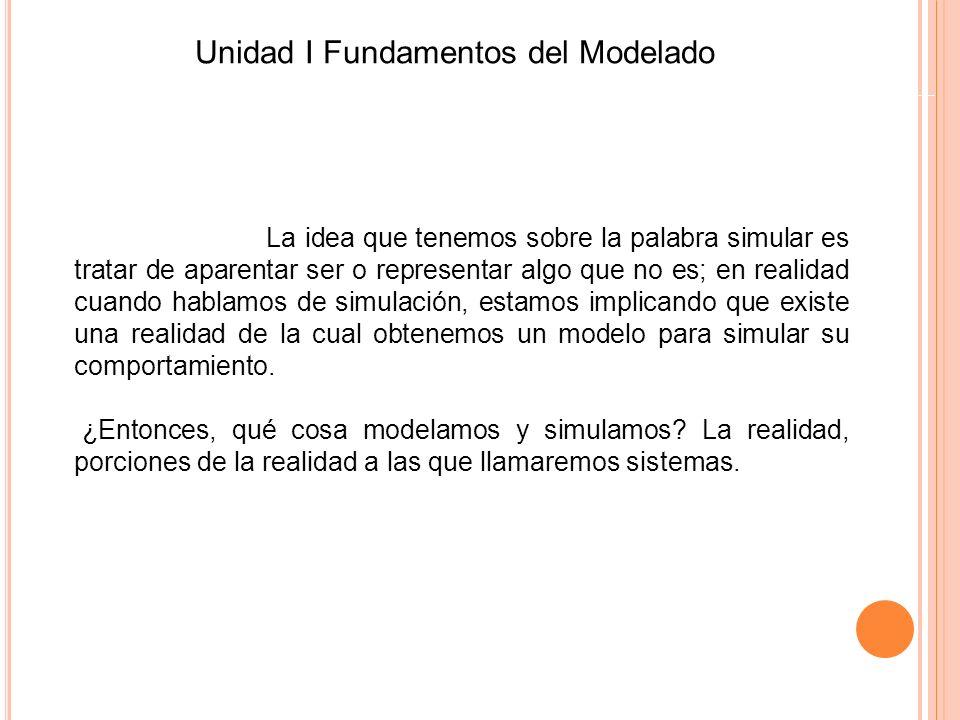 Unidad I Fundamentos del Modelado La idea que tenemos sobre la palabra simular es tratar de aparentar ser o representar algo que no es; en realidad cu