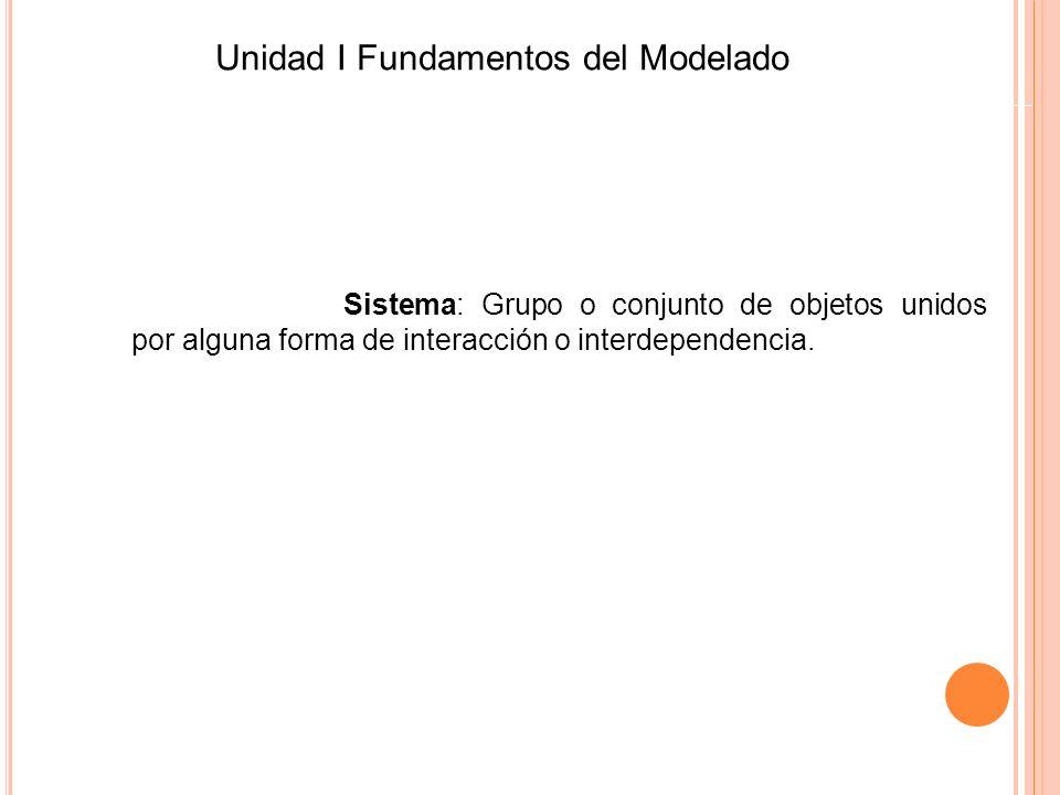 Sistema: Grupo o conjunto de objetos unidos por alguna forma de interacción o interdependencia. Unidad I Fundamentos del Modelado