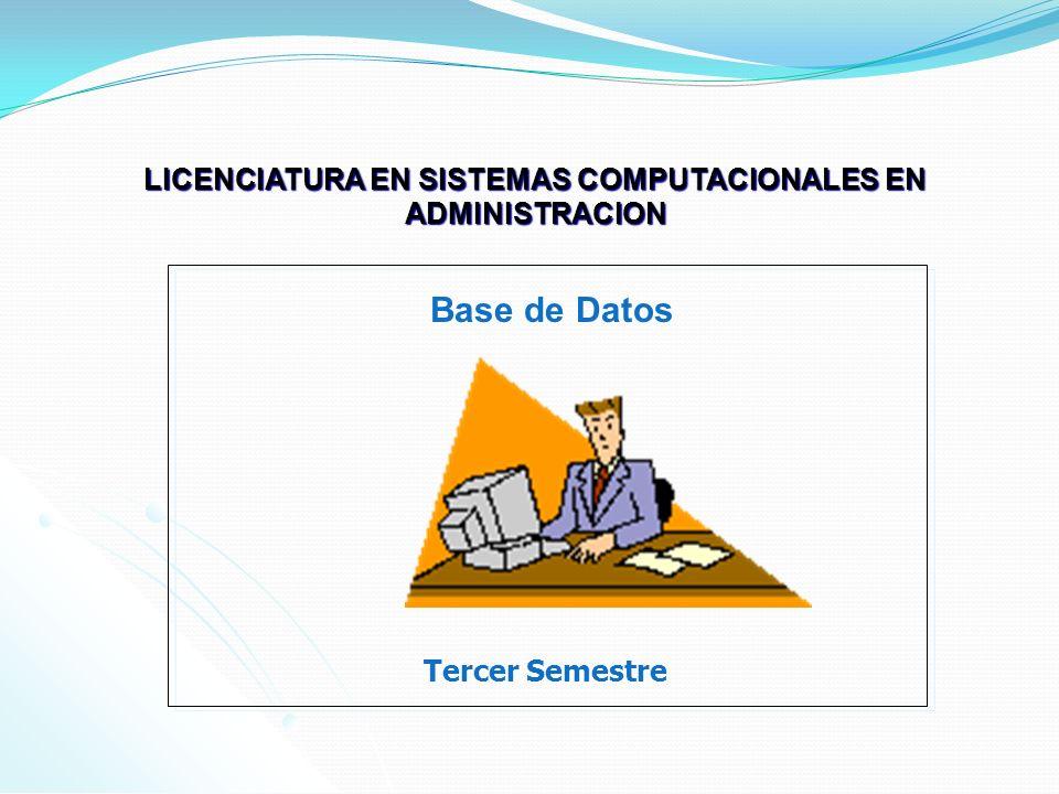 LICENCIATURA EN SISTEMAS COMPUTACIONALES EN ADMINISTRACION Tercer Semestre Base de Datos