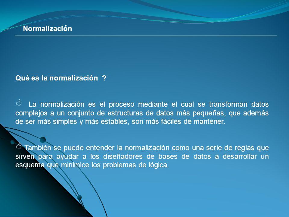 Normalización Qué es la normalización .
