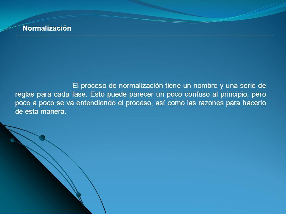 Normalización El proceso de normalización tiene un nombre y una serie de reglas para cada fase.