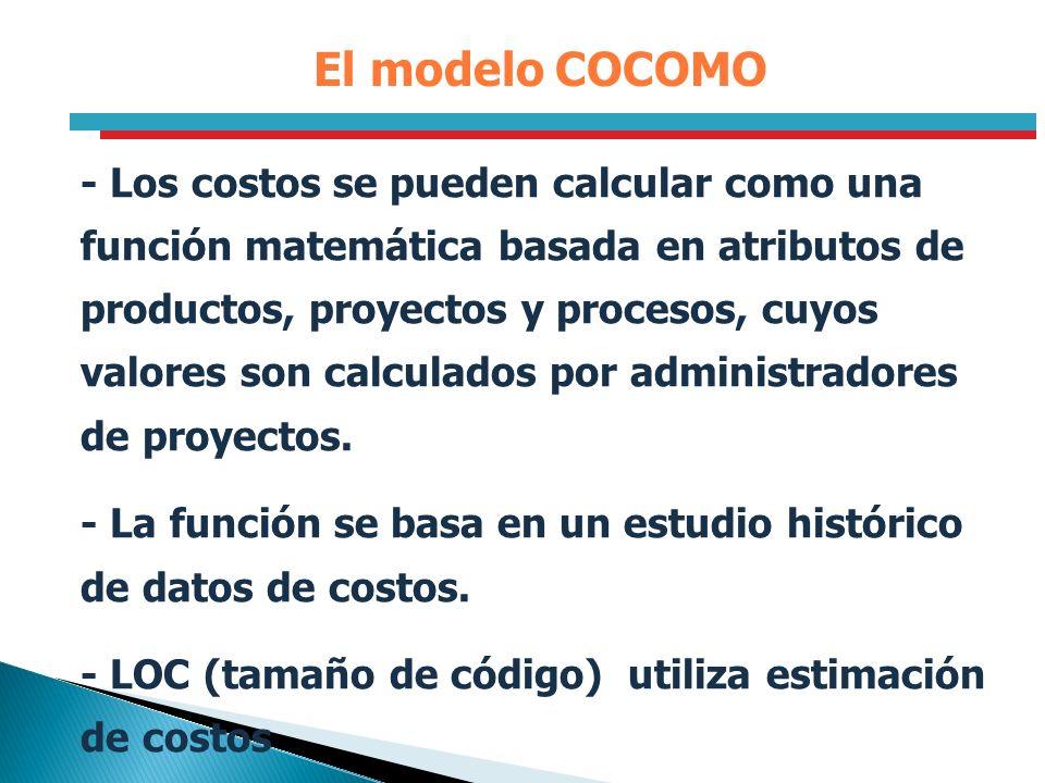 - Los costos se pueden calcular como una función matemática basada en atributos de productos, proyectos y procesos, cuyos valores son calculados por a
