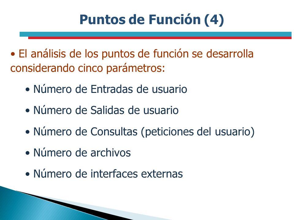 Puntos de Función (4) El análisis de los puntos de función se desarrolla considerando cinco parámetros: Número de Entradas de usuario Número de Salida