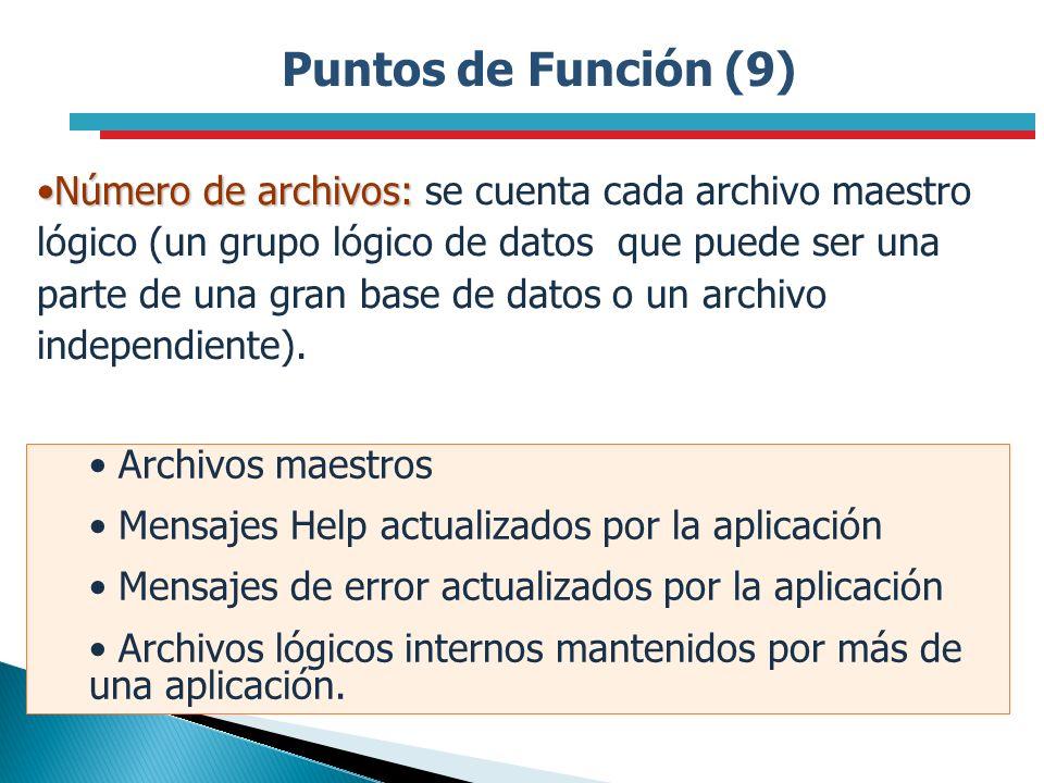 Puntos de Función (9) Número de archivos:Número de archivos: se cuenta cada archivo maestro lógico (un grupo lógico de datos que puede ser una parte d