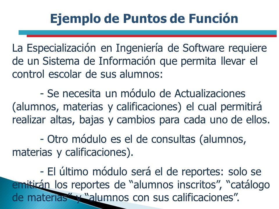Ejemplo de Puntos de Función La Especialización en Ingeniería de Software requiere de un Sistema de Información que permita llevar el control escolar