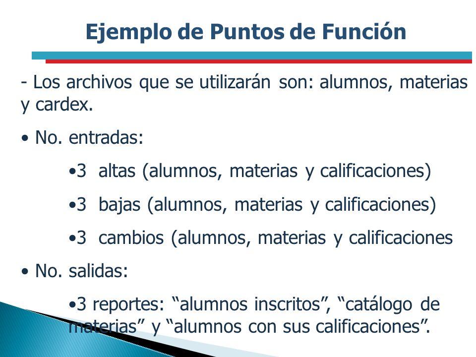 Ejemplo de Puntos de Función - Los archivos que se utilizarán son: alumnos, materias y cardex. No. entradas: 3 altas (alumnos, materias y calificacion