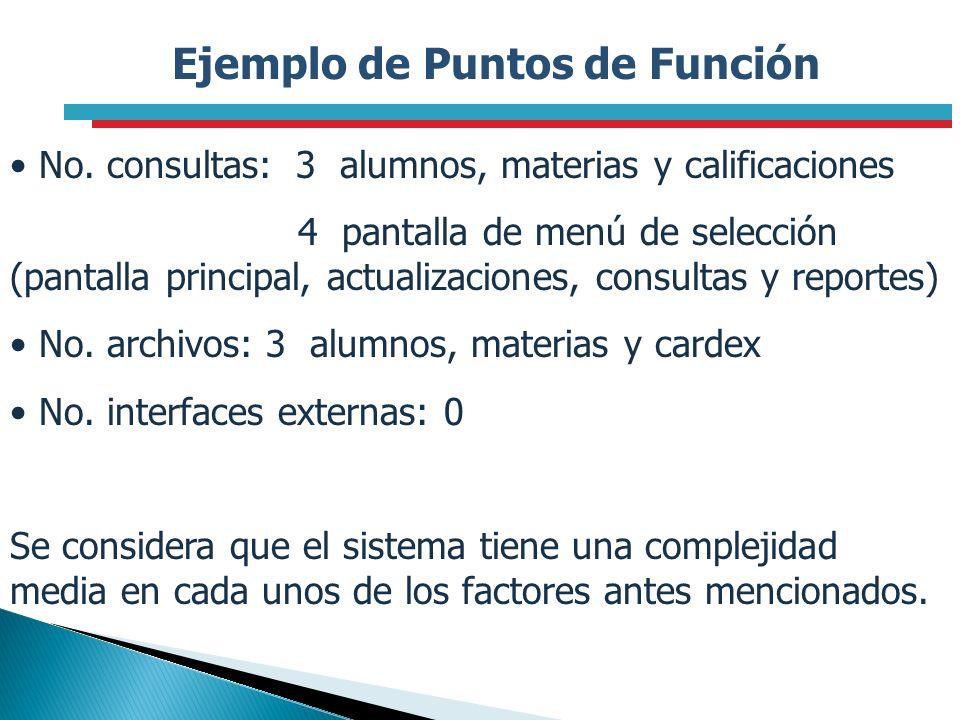 Ejemplo de Puntos de Función No. consultas: 3 alumnos, materias y calificaciones 4 pantalla de menú de selección (pantalla principal, actualizaciones,