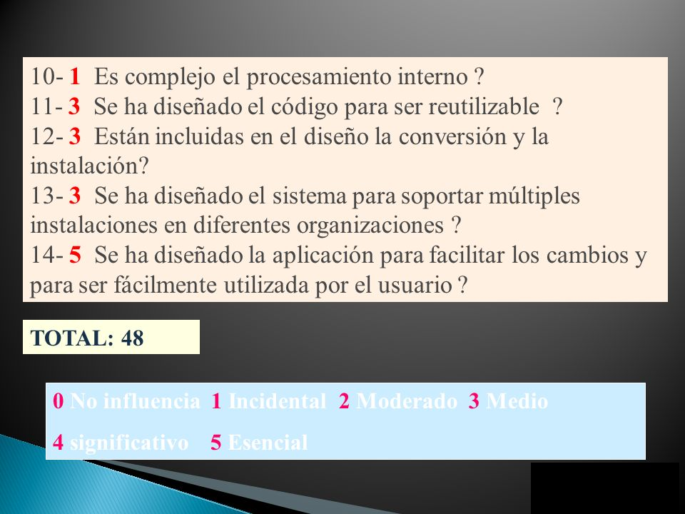 0 No influencia 1 Incidental 2 Moderado 3 Medio 4 significativo 5 Esencial 10- 1 Es complejo el procesamiento interno ? 11- 3 Se ha diseñado el código
