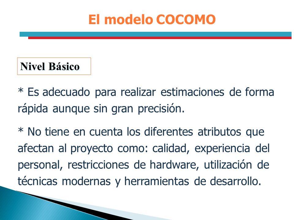 El modelo COCOMO Nivel Básico * Es adecuado para realizar estimaciones de forma rápida aunque sin gran precisión. * No tiene en cuenta los diferentes