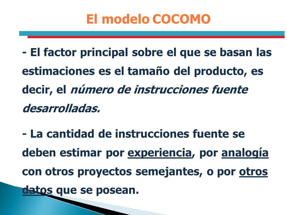 El modelo COCOMO - El factor principal sobre el que se basan las estimaciones es el tamaño del producto, es decir, el número de instrucciones fuente d