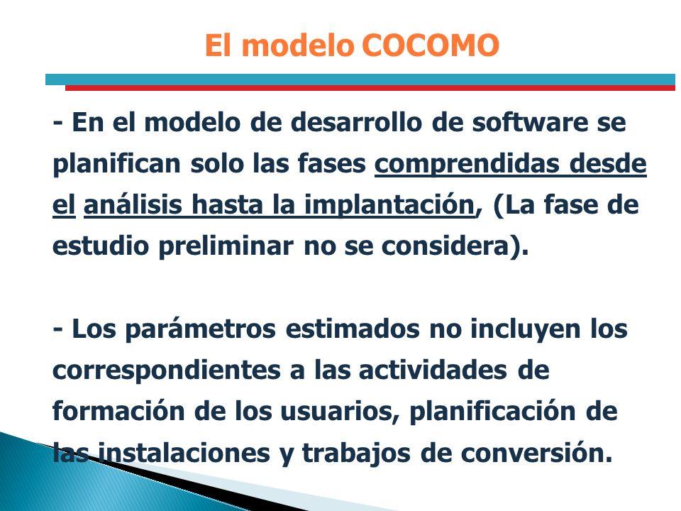 El modelo COCOMO - En el modelo de desarrollo de software se planifican solo las fases comprendidas desde el análisis hasta la implantación, (La fase
