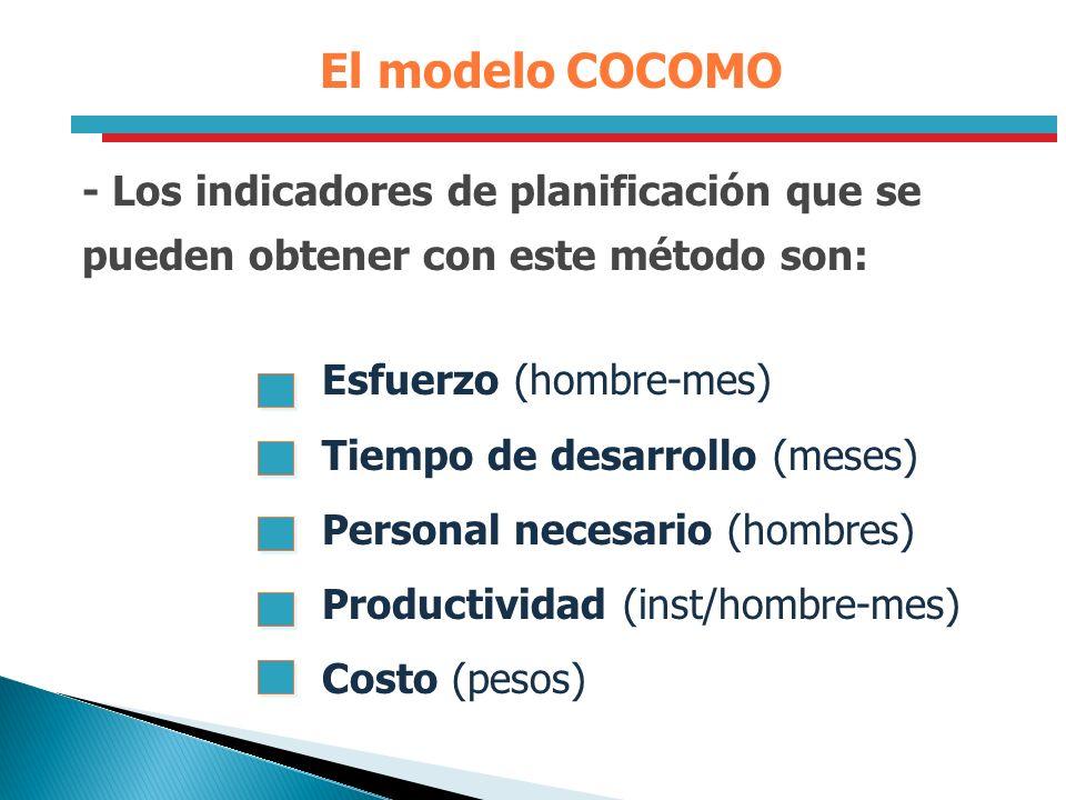 El modelo COCOMO - Los indicadores de planificación que se pueden obtener con este método son: Esfuerzo (hombre-mes) Tiempo de desarrollo (meses) Pers