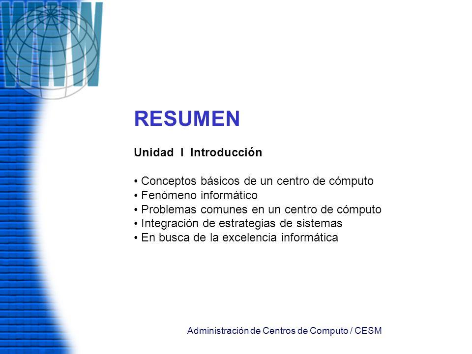 Administración de Centros de Computo / CESM RESUMEN Unidad I Introducción Conceptos básicos de un centro de cómputo Fenómeno informático Problemas com