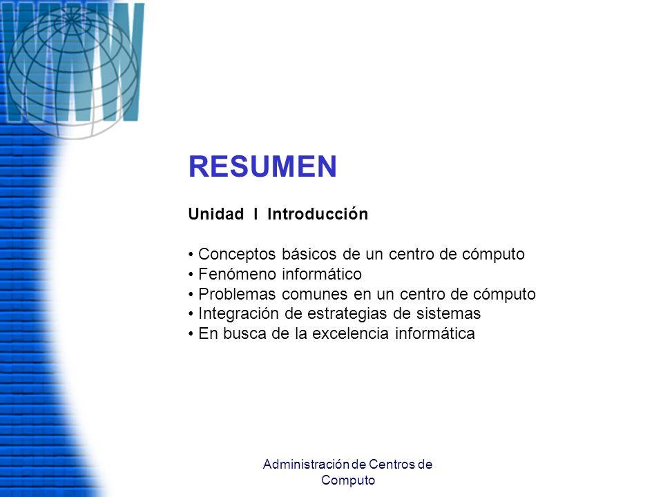 Administración de Centros de Computo RESUMEN Unidad I Introducción Conceptos básicos de un centro de cómputo Fenómeno informático Problemas comunes en