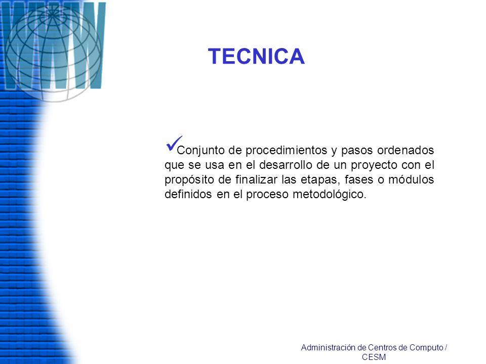 TECNICA Conjunto de procedimientos y pasos ordenados que se usa en el desarrollo de un proyecto con el propósito de finalizar las etapas, fases o módu