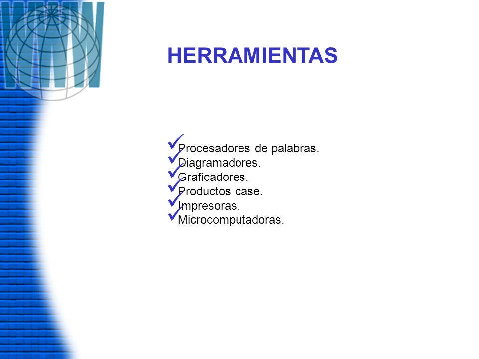 HERRAMIENTAS Procesadores de palabras. Diagramadores. Graficadores. Productos case. Impresoras. Microcomputadoras.