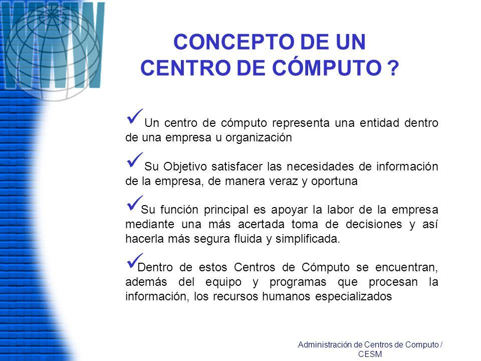 CONCEPTO DE UN CENTRO DE CÓMPUTO ? Un centro de cómputo representa una entidad dentro de una empresa u organización Su Objetivo satisfacer las necesid