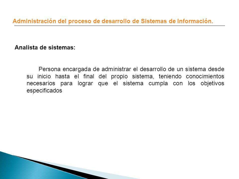 Administración del proceso de desarrollo de Sistemas de Información. Analista de sistemas: Persona encargada de administrar el desarrollo de un sistem