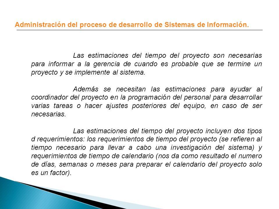 Administración del proceso de desarrollo de Sistemas de Información. Las estimaciones del tiempo del proyecto son necesarias para informar a la gerenc