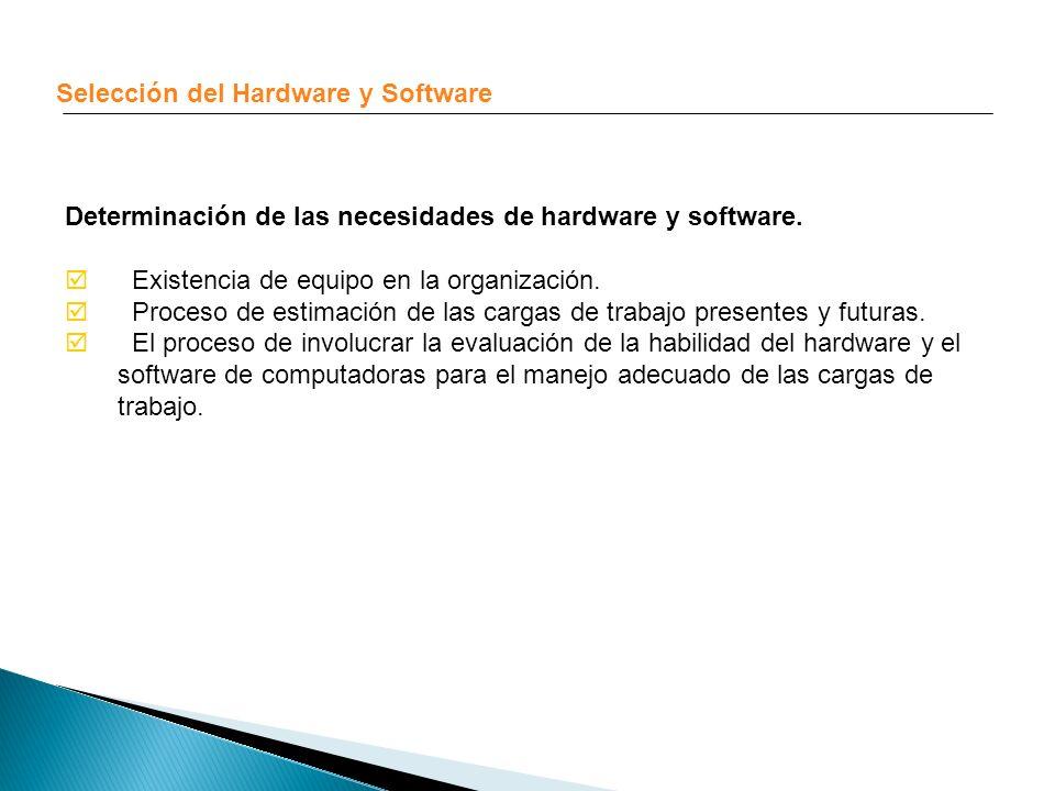 Selección del Hardware y Software Determinación de las necesidades de hardware y software. Existencia de equipo en la organización. Proceso de estimac