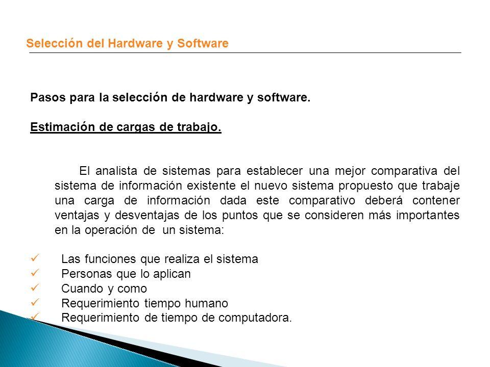 Selección del Hardware y Software Pasos para la selección de hardware y software. Estimación de cargas de trabajo. El analista de sistemas para establ