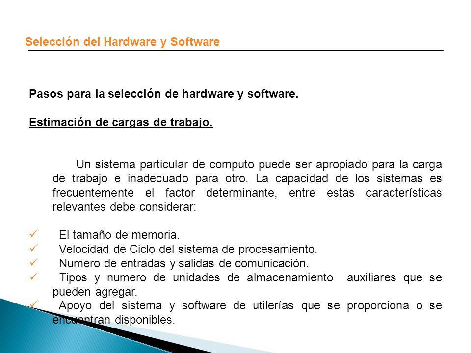 Selección del Hardware y Software Pasos para la selección de hardware y software. Estimación de cargas de trabajo. Un sistema particular de computo pu