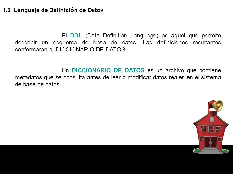 1.6 Lenguaje de Definición de Datos El DDL (Data Definition Language) es aquel que permite describir un esquema de base de datos. Las definiciones res