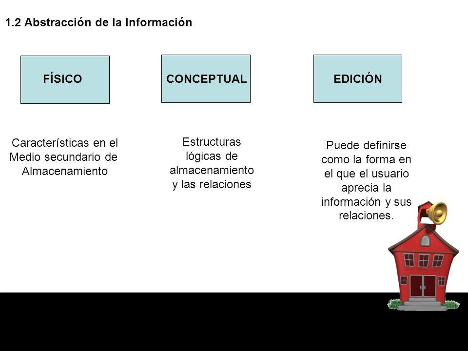 1.2 Abstracción de la Información FÍSICOCONCEPTUALEDICIÓN Características en el Medio secundario de Almacenamiento Estructuras lógicas de almacenamien