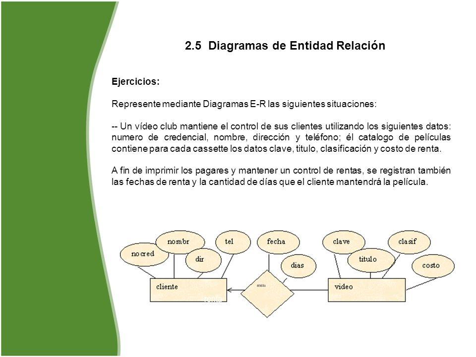 2.5 Diagramas de Entidad Relación Ejercicios: Represente mediante Diagramas E-R las siguientes situaciones: -- Un vídeo club mantiene el control de su