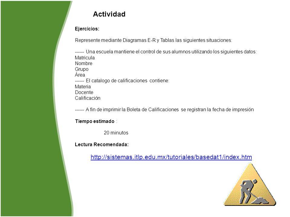 Actividad Ejercicios: Represente mediante Diagramas E-R y Tablas las siguientes situaciones: ------ Una escuela mantiene el control de sus alumnos uti