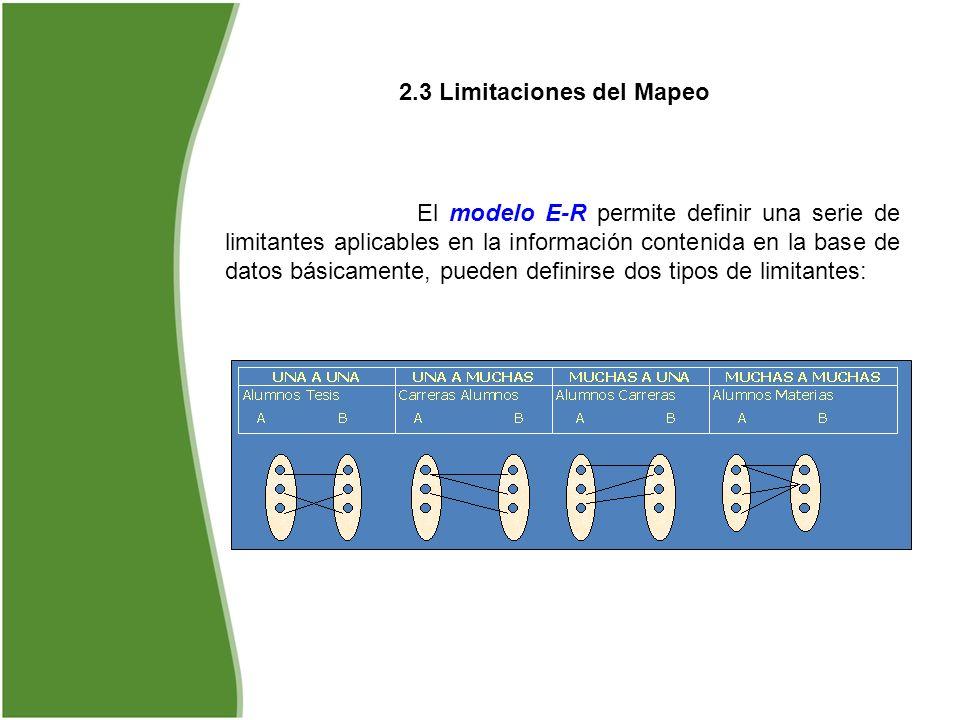 2.3 Limitaciones del Mapeo El modelo E-R permite definir una serie de limitantes aplicables en la información contenida en la base de datos básicament