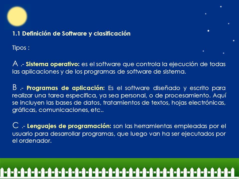 1.1 Definición de Software y clasificación Tipos : A.- Sistema operativo: es el software que controla la ejecución de todas las aplicaciones y de los