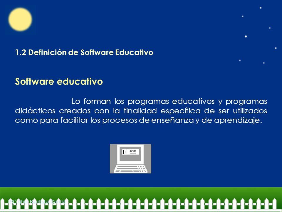 1.2 Definición de Software Educativo Software educativo Lo forman los programas educativos y programas didácticos creados con la finalidad específica