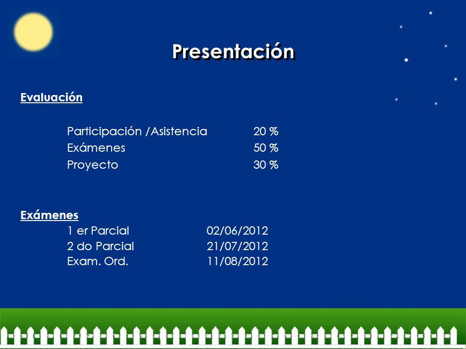 Presentación Evaluación Participación /Asistencia20 % Exámenes50 % Proyecto30 % Exámenes 1 er Parcial 02/06/2012 2 do Parcial 21/07/2012 Exam. Ord.11/