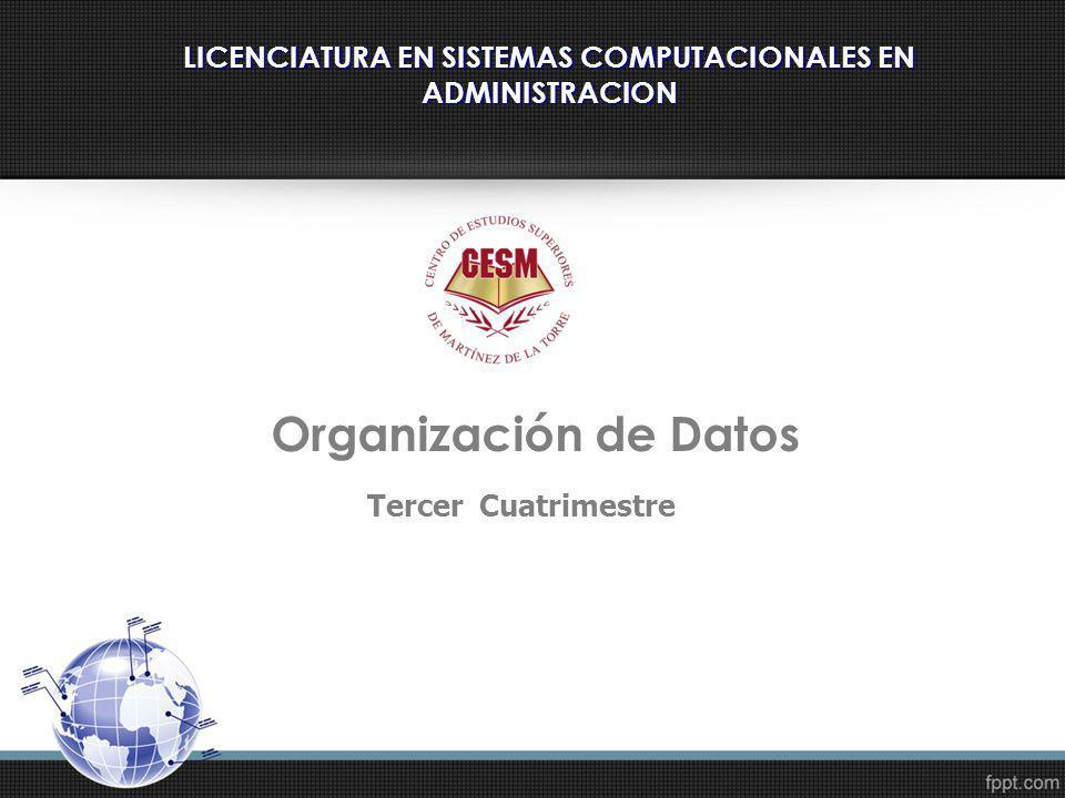 LICENCIATURA EN SISTEMAS COMPUTACIONALES EN ADMINISTRACION Tercer Cuatrimestre Organización de Datos