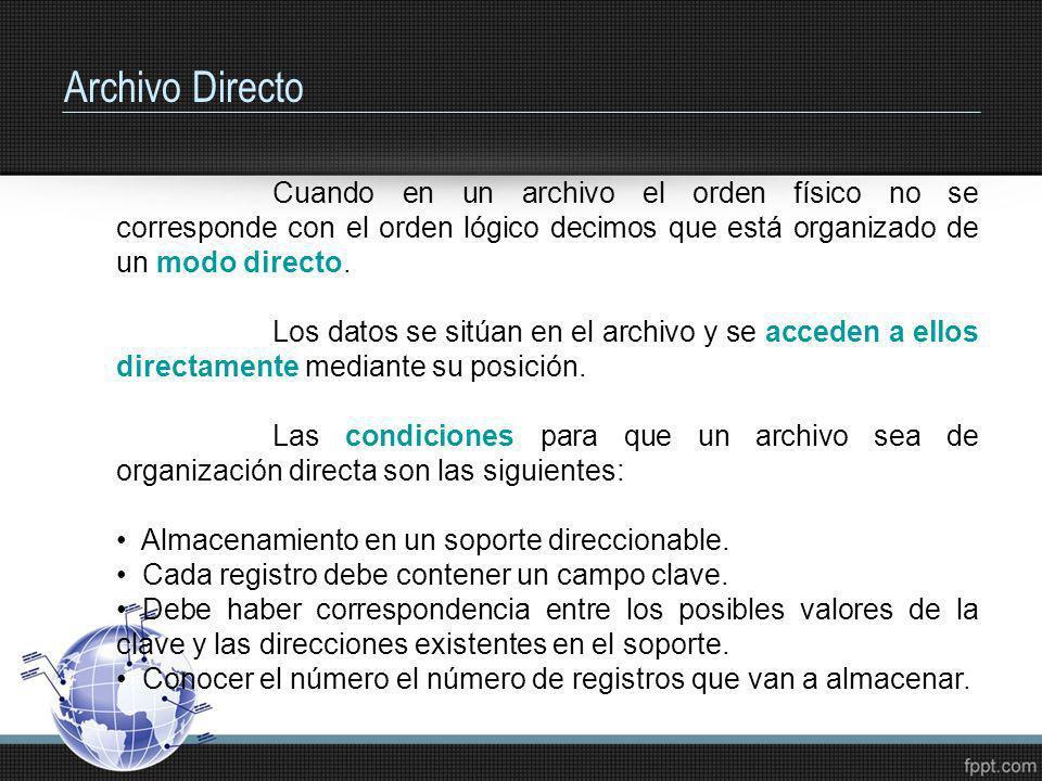 Archivo Directo Cuando en un archivo el orden físico no se corresponde con el orden lógico decimos que está organizado de un modo directo. Los datos s