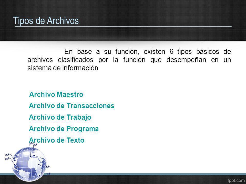 Tipos de Archivos En base a su función, existen 6 tipos básicos de archivos clasificados por la función que desempeñan en un sistema de información Ar
