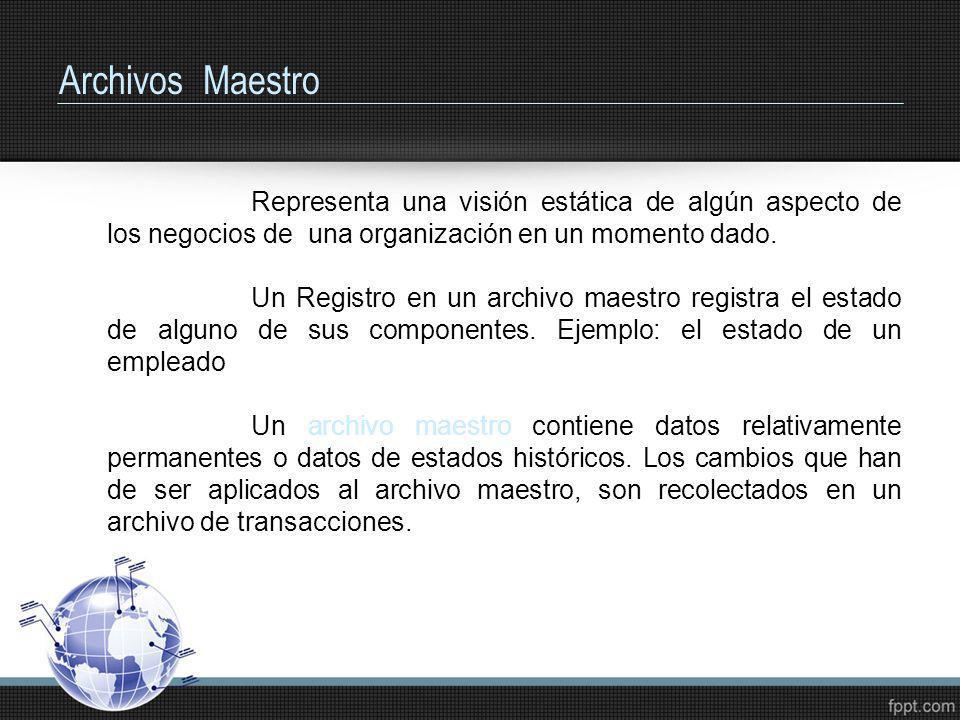 Archivos Maestro Representa una visión estática de algún aspecto de los negocios de una organización en un momento dado. Un Registro en un archivo mae