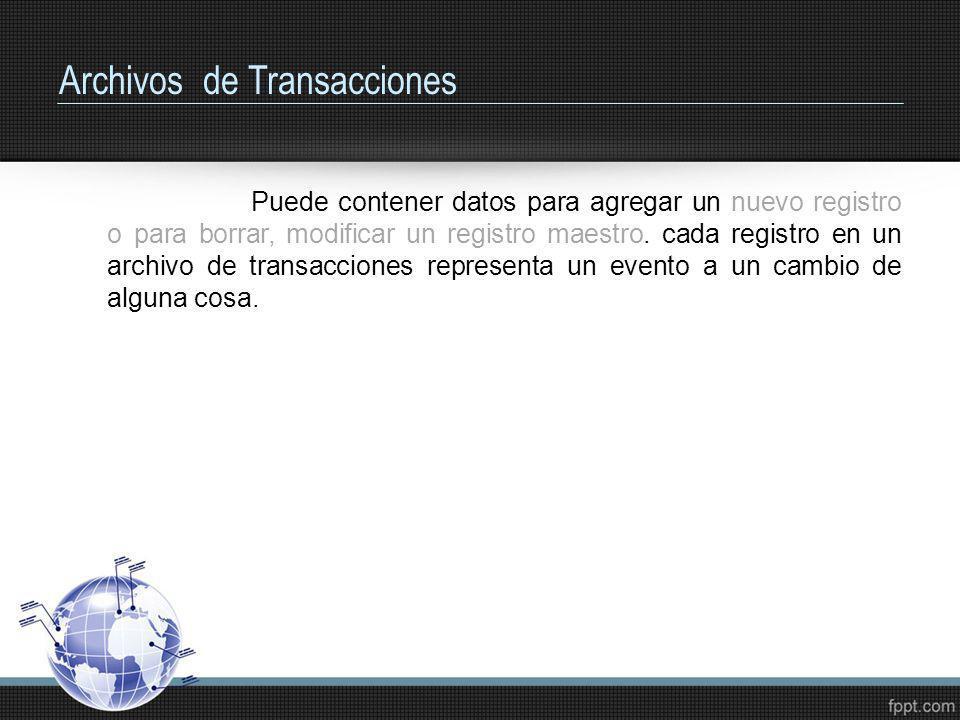 Archivos de Transacciones Puede contener datos para agregar un nuevo registro o para borrar, modificar un registro maestro. cada registro en un archiv