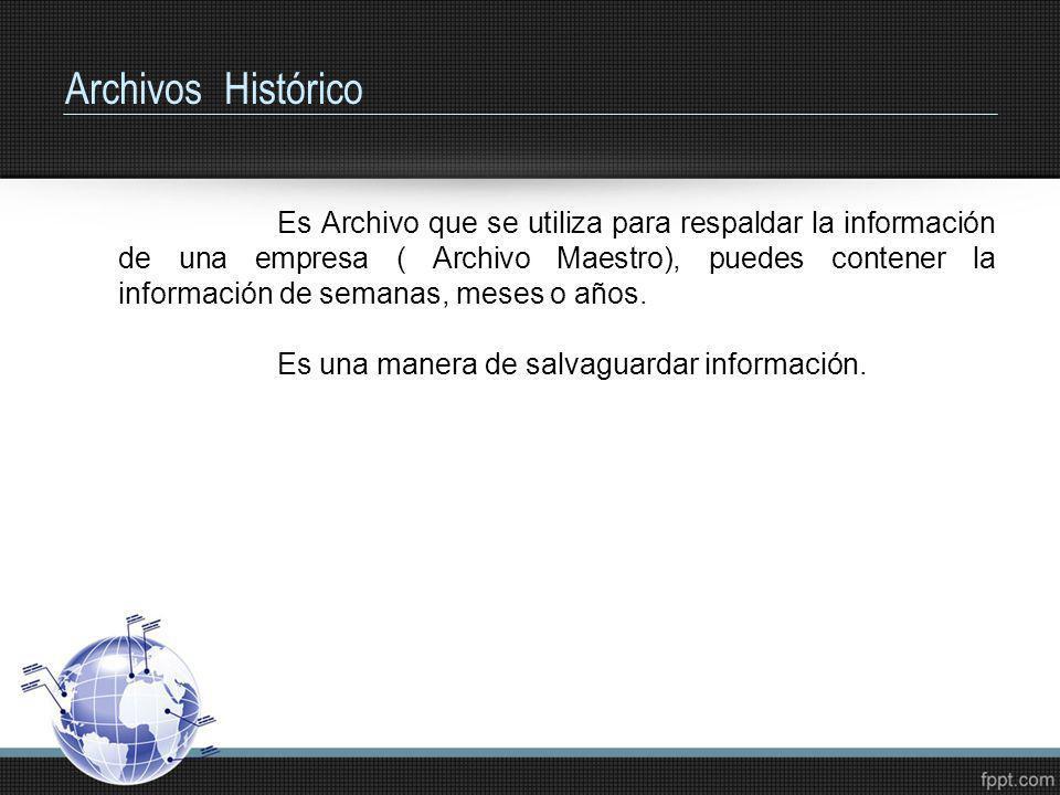 Archivos Histórico Es Archivo que se utiliza para respaldar la información de una empresa ( Archivo Maestro), puedes contener la información de semana