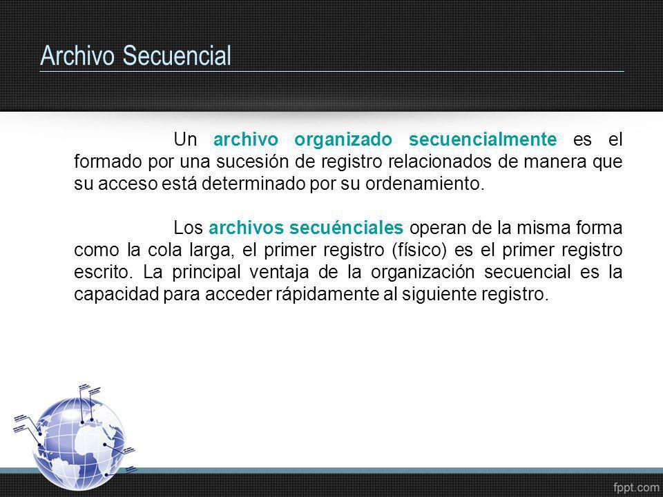 Archivo Secuencial Un archivo organizado secuencialmente es el formado por una sucesión de registro relacionados de manera que su acceso está determin