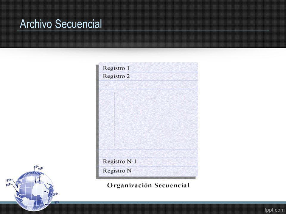 Archivos: Operaciones Decidir la manera como se va a usar el archivo es fundamental para determinar como se debe organizar el archivo, los métodos de acceso que se aplicarán para su manipulación y las posibles operaciones a realizar, tales como: Creación Consulta Actualización Clasificación Reorganización Fusión
