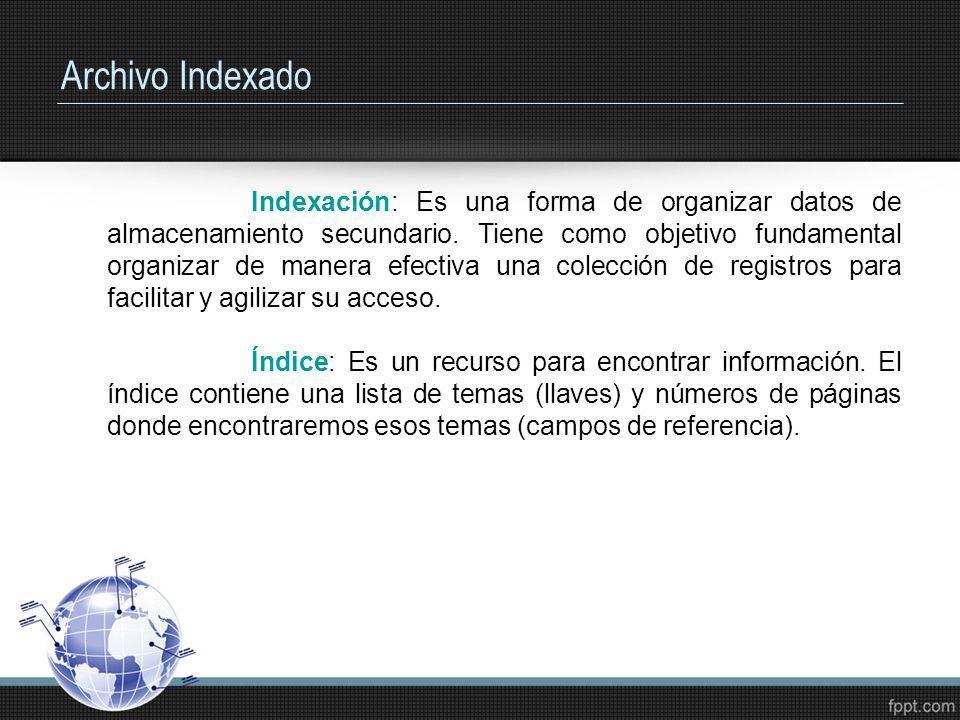 Archivo Indexado Indexación: Es una forma de organizar datos de almacenamiento secundario. Tiene como objetivo fundamental organizar de manera efectiv