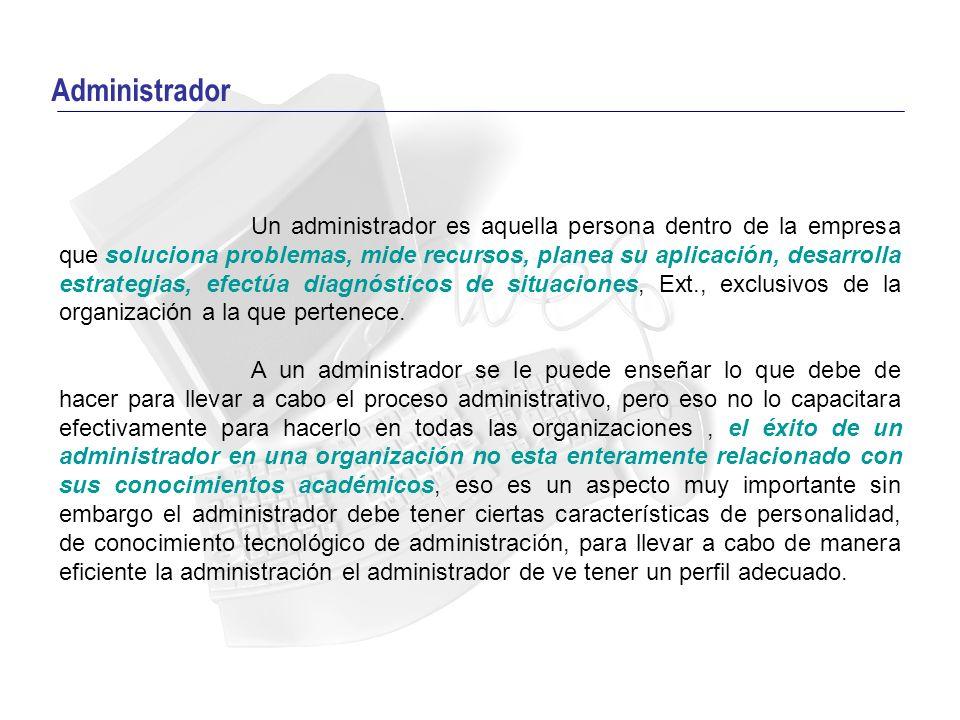 Perfil del Administrador Existen por lo menos tres tipos de habilidades necesarias para que el administrador pueda ejecutar eficazmente el proceso administrativo: la habilidad técnica, la humana y la conceptual;