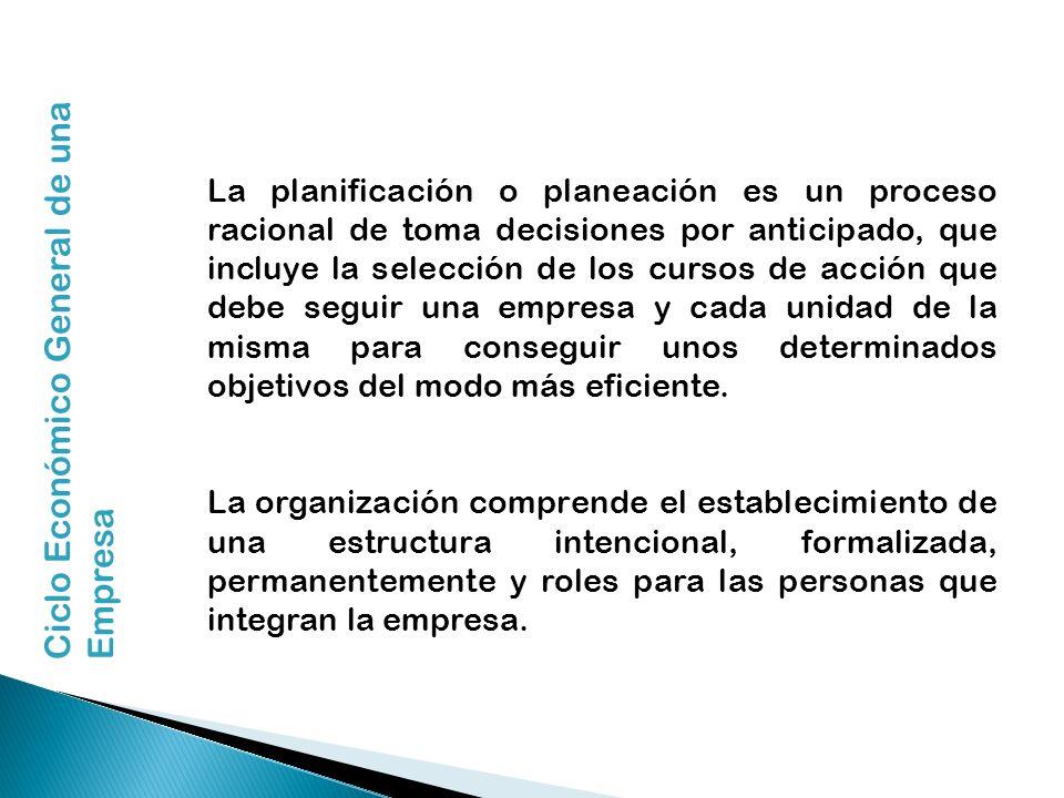 La planificación o planeación es un proceso racional de toma decisiones por anticipado, que incluye la selección de los cursos de acción que debe segu