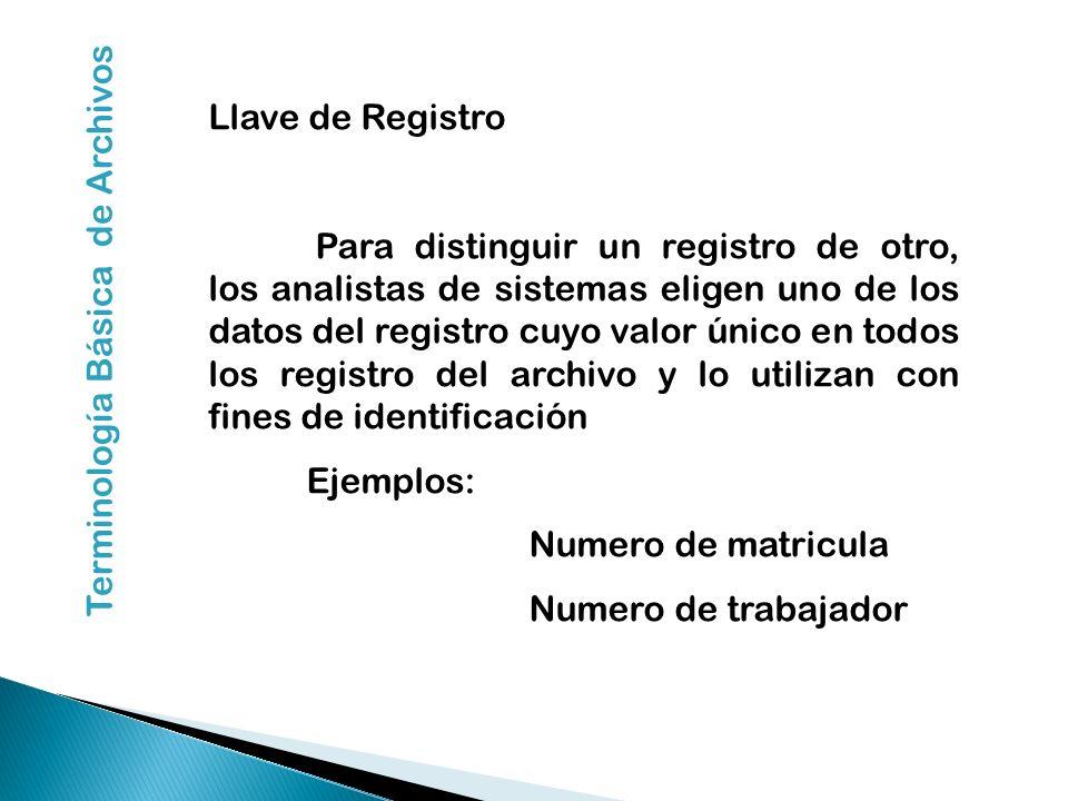 Llave de Registro Para distinguir un registro de otro, los analistas de sistemas eligen uno de los datos del registro cuyo valor único en todos los re