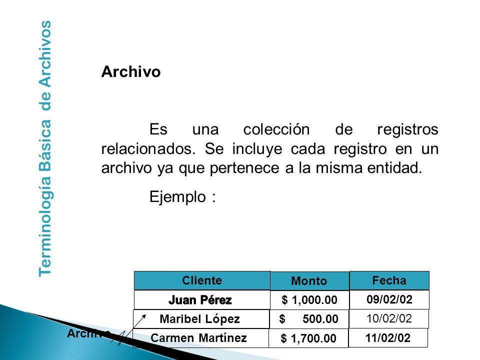 Archivo Es una colección de registros relacionados. Se incluye cada registro en un archivo ya que pertenece a la misma entidad. Ejemplo : Cliente Mont